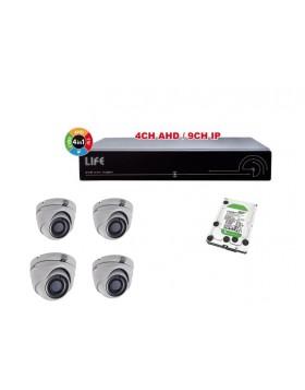 Kit Videosorveglianza Sicurezza XVR 4 Canali Hard Disk 1Tb e 4 Telecamere Dome