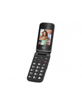 Cellulare rosso con sportellino tasti e display grandi fotocamera sveglia Trevi