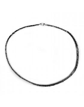 Collana per Donna Girocollo in Argento 925 Pietra Salomite Nera
