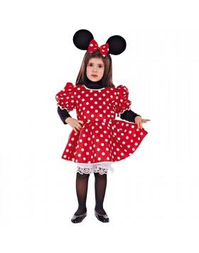 Costume di Carnevale per Bambina Topina Topolina Minnie 2/3 Anni 76 cm