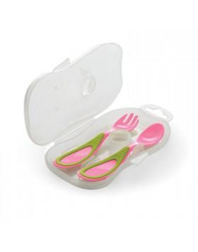 Cucchiaio e forchetta con astuccio nuvita 4m+ rosa