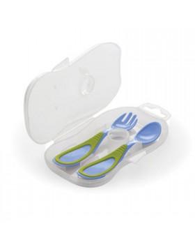 Cucchiaio e forchetta con astuccio nuvita blu 4m+ blu