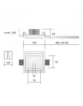 Porta Faretto in Gesso 12x12 cm Quadrato Verniciabile