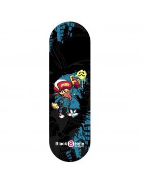 Skateboard Senior Graffity Muro Street Completo di Ruote Skate Nero Blu