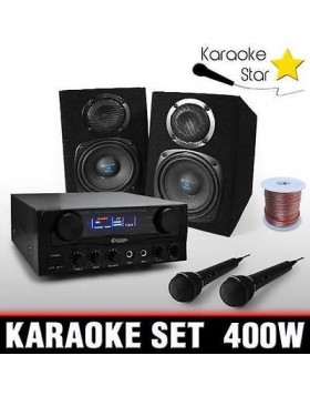 KIT COMPLETO KARAOKE DJ PA SET 400W CASSE AMPLIFICATORE 2x MICRO AUX DISCO PARTY