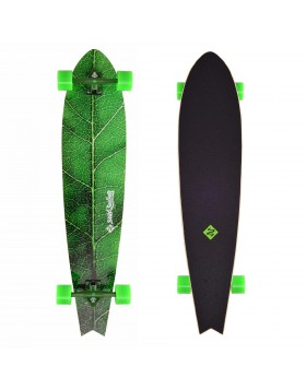 LONGBOARD STREET SURFING THE LEAF LONG BOARD SKATE SKATEBOARD COMPLETO CON RUOTE