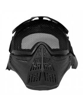Maschera Soft Air Nera Protezione Totale Viso con Rete Paint Ball Softair