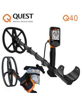 Quest Q40 Q 40 Combo Metal Detector Cercametalli Piastra Sacca Oro Monete Novità