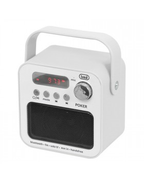 Mini Cassa Portatile Altoparlante Stereo Radio FM Micro Sd Card USB Bianco