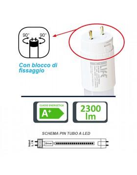 Tubo Neon a LED Attacco T8 24 Watt SMD 150cm Luce Bianca Fredda LIFE 2300 Lumen