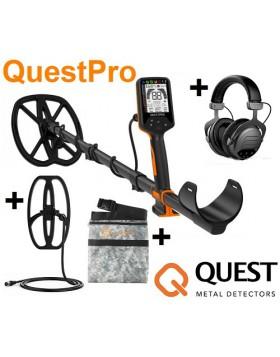 Quest Pro Metal Detector 2 Piastre Cuffie Wireless Oro Monete Acqua 5 Metri