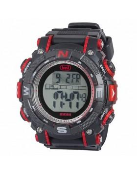 Orologio a Ricarica solare nero e rosso Impermeabile Cronometro Calendario Trevi