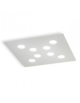 Plafoniera Led Alluminio Bianco Rettangolare 58x58 cm 8 Luci