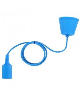 Portalampada a Sospensione E27 in Silicone Lampadario Cavo Blu