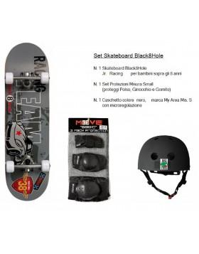 Set Junior Skateboard Racing Colorato + Caschetto + Protezioni Bambini Ragazzi