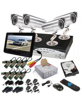 KIT DVR 4 TELECAMERA VIDEOSORVEGLIANZA HD 48 LED MONITOR BALUN IPHONE ANDROID