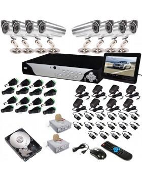 KIT DVR 8 TELECAMERA VIDEOSORVEGLIANZA HD 48 LED MONITOR BALUN IPHONE ANDROID