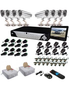 KIT DVR 8 TELECAMERA VIDEOSORVEGLIANZA LAN 48 LED MONITOR BALUN IPHONE ANDROID