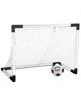 Set Porta Calcio Rete Smontabile Trasportabile Calcetto Palla 91,5 x 63 cm
