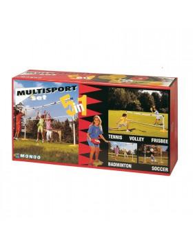 Set Pali con Rete per Pallavolo Tennis Badminton Porta Calcio 5 in 1 Multisport
