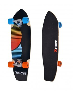 Skateboard Cruiser a Punta Chill Completo con Ruote Skate Nero Striscie Colori