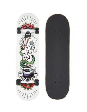Skateboard Professionale Senior TYB White Carte Poker Completo con Ruote Bianco