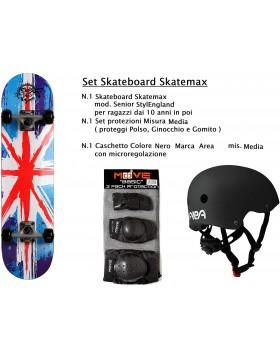 Set Skateboard Skatemax Senior Stylenglad Colorato + Caschetto + Protezioni