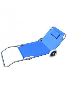 Spiaggina con Ruote Pieghevole Sdraio Lettino Trolley Azzurro