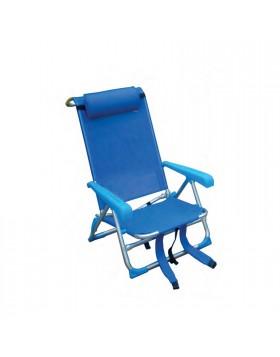 Sedia Zaino Reclinabile Blu Richiudibile Portatile 53x62x21/77 cm Spiaggia Mare