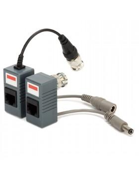 Coppia Trasmettitori Video Balun Passivo Cavo UTP CAT5 Telecamera DVR BNC RJ45