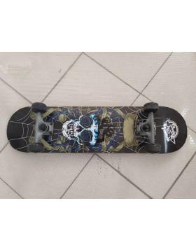 (USATO) Skateboard Professionale Skull Teschio Completo di Ruote